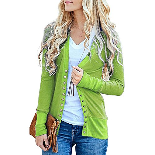 vermers Women's Cardigan Sweater - Women Fashion V-Neck Button Down Knitwear Long Sleeve Knit Shirt Top Blouse(XL, Green) by vermers
