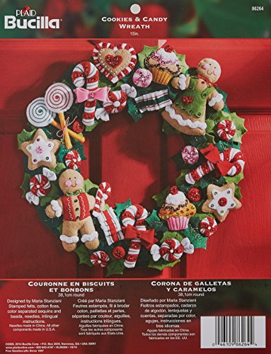 Needlepoint Candy (Bucilla Felt Applique Wreath Kit, 15-Inch Round, 86264 Cookies & Candy)