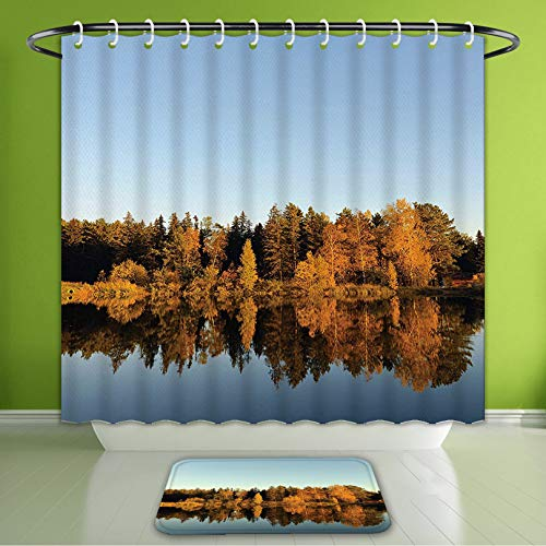 - Waterproof Shower Curtain and Bath Rug Set Lake House Decor Collection Photo of Autumn Forest and Silhouette of The Trees Bath Curtain and Doormat Suit for Bathroom Extra Wide Size 78