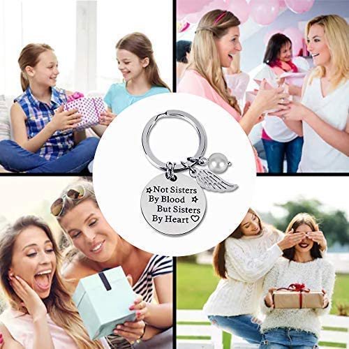 Not Sisters by Blood But Sisters by Heart Key Chain Best Friends Keyring Good Friends Keychain Friendship Gift Stainless Steel Keychain for Women Teen Girls
