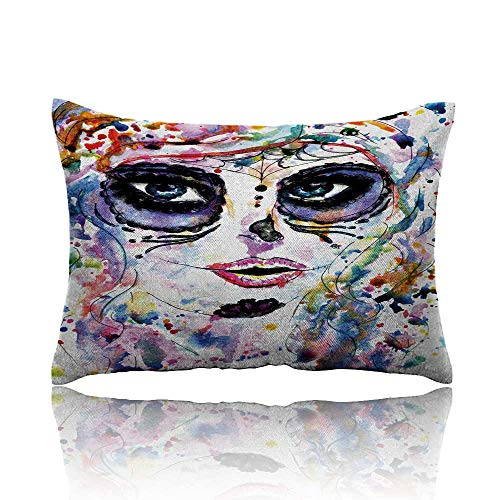homehot Sugar Skull Small Pillowcase Halloween Girl with Sugar Skull Makeup Watercolor Painting Style Creepy Look Zipper Pillowcase 20