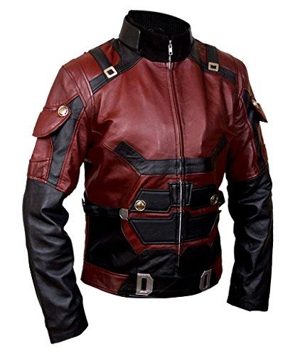 F&H Men's Genuine Leather Daredevil Matt Murdock Charlie Cox Jacket M Maroon