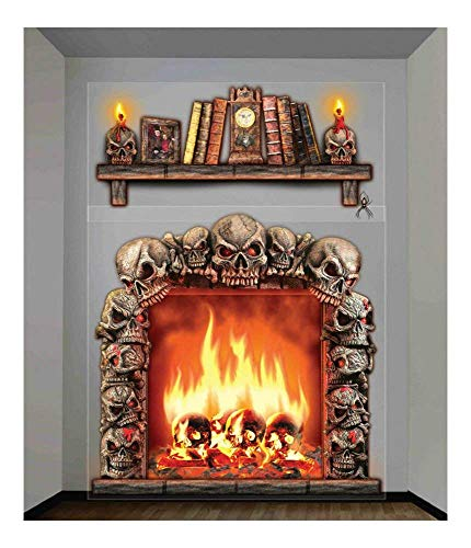 (Halloween Prop Gothic 4x5 FIREPLACE SKULLS WALL DECORATION Halloween Haunted House Scene Setter )