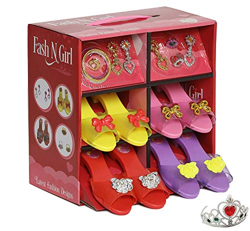 Princess Dress Up and Play Shoe and Jewelry Boutique with Fashion Accessories for Girls Dress Up, Age 3 - 10 yrs Old (red/Purple)