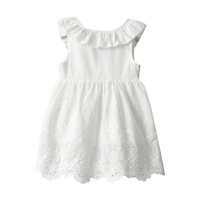 RETUROM Vestido de niña, Princesa de la muchacha encantadora Vestidos blancos del partido: Amazon.es: Ropa y accesorios
