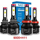 H11 9005 LED Headlight Bulbs High & Low Beam LED Bulbs, H11/H8/H9 and 9005/HB3 Combo Package (2 sets) All-in-one Conversion Kit, Super Bright Cool White 72W 8000LM 6000K