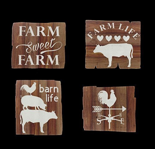 Farm Sweet Farm - Refrigerator Magnets - Set of 4 - Kitchen - Birthday - Christmas - Barn - Pig - Cow - Rooster - Weather vane - Farmhouse