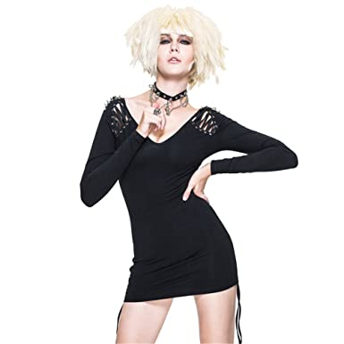 c27bdfc53 Devil Fashion Punk Gothic Women Sexy Tight Dress Long Sleeve Spring Summer Black  Short V Neck Dresses Mini Skirts at Amazon Women's Clothing store:
