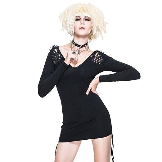 Devil Fashion Punk Gothic Women Sexy Tight Dress Long Sleeve Spring