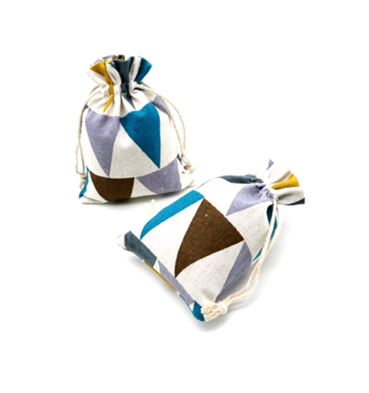 Zzooi Geometric Figure Triangle Burlaps Bags Sack Bag Small Burlap Drawstring Bags 20PCS