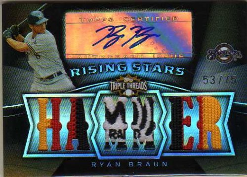 2009 Topps Triple Threads Sepia #101 Ryan Braun Autograph Multi-Colored Jersey Patch #53/75 - Milwaukee Brewers