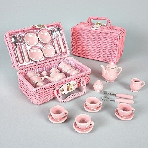 (Floss and Rock Think Pink Spotty 17-Piece MINI Ceramic Tea Set in Basket)
