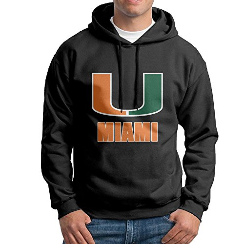 FUOALF Mens Pullover University Of U Logo Miami Hoodie Sweatshirts Black - Joe Fat Sunglasses