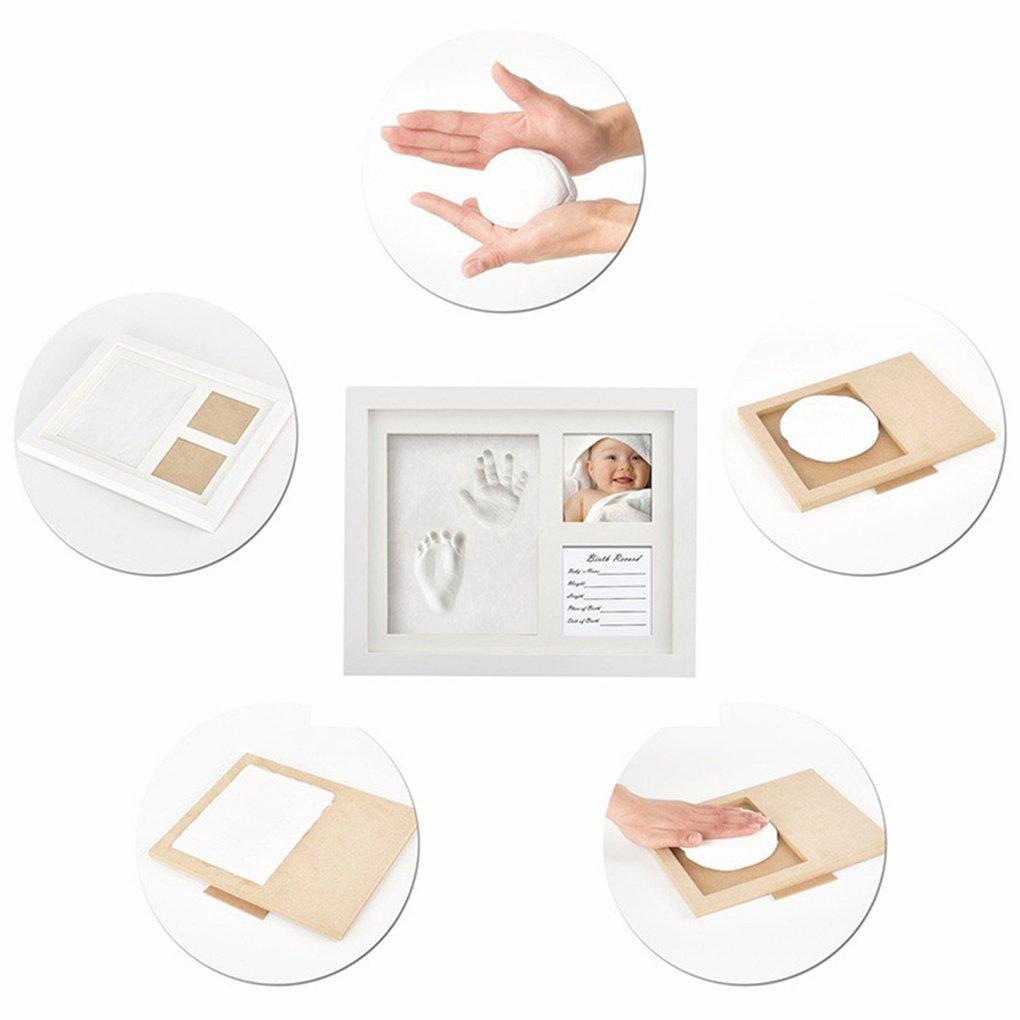 argile Non toxique et sans danger CFtrum Baby Handprint et empreinte Kit fait un parfait souvenir et un cadeau de douche de b/éb/é cadre Photo en bois avec fa/çade en verre acrylique s/écuritaire