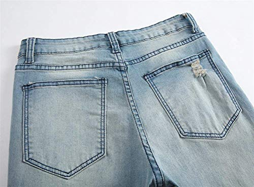 Slim Da Giovane Ginocchio Uomo Ufig Pants Retro Fit Jeans Distrutto Classico Pantaloni Casual Hellblau Denim Pocket Holes wgUw5SnqIx