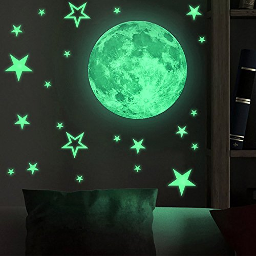 SENGE Glow in The Dark Stars and Moon Wall Stickers Decorative Removable Night Decal Luminous Stars Wall Stickers Gifts for Kids -