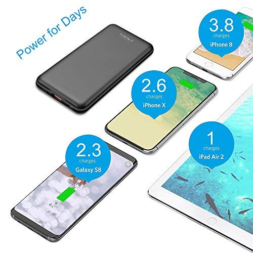 Moxnice Fast Charging Power Bank10000mAh PD (18W Type C Output) with High Speed Charging Technology, Slim Portable Charger for for iPhone, iPad, Samsung Galaxy, MacBook, Nexus 5X / 6P, HTC10, Laptop (USB / Type C cable included, micro usb c