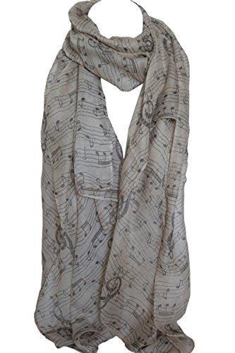 Écharpe étole châle hijab motif musical - Beige, 175cm X 70cm
