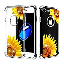 Case+Tempered_Glass+Stylus, Candy Skin Protector Cover Fits Apple iPhone 7/8 (Also Fits 6/6S, But Cannot Use Earphone) Electroplating Silver/Sunflower Stuffed Diamante/Artificial Diamond