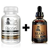 Facial Hair Styles For Thin Beards - BEARD GROWTH KIT - Biotin #1 Beard Supplement/Vitamin. For Thicker and Fuller Facial Hair + Beard Oil Unscented Made of Argan/Jojoba Oil. Men's Hair Growth Mustache Beard Goatee. Natural Ingredients.