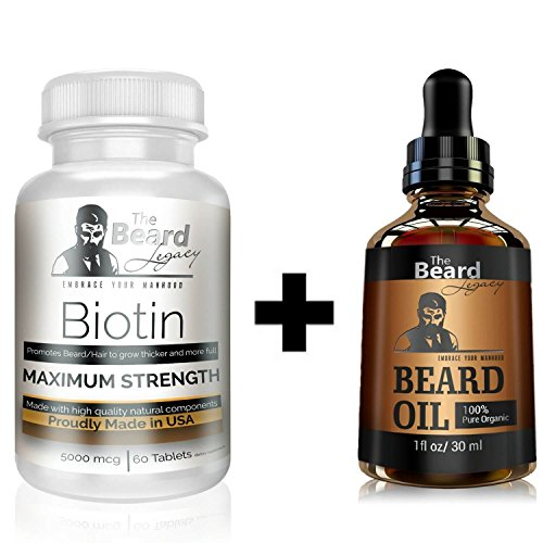 (Prime Beard Growth Vitamins Supplement for Men - Beard Oil Unscented - Thicker, Fuller, Manlier Hair - Scientifically Designed Pills with Biotin - for All Facial Hair Types and Beard Growth)