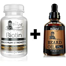 BEARD GROWTH KIT - Biotin #1 Beard Supplement/Vitamin. For Thicker and Fuller Facial Hair + Beard Oil Unscented Made of Argan/Jojoba Oil. Men's Hair Growth Mustache Beard Goatee. Natural Ingredients.