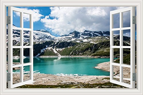 GreatHomeArt Removable Prints Poster 3d Window View Wall Mur