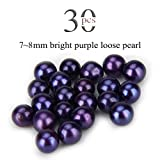 Loose Beads 7-8mm Akoya Round Cultured Saltwater 30PCS (Bright Purple)