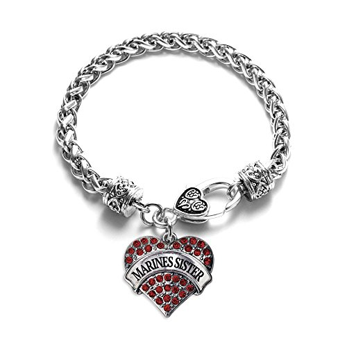 Inspired Silver Marines Sister Pave Heart Bracelet