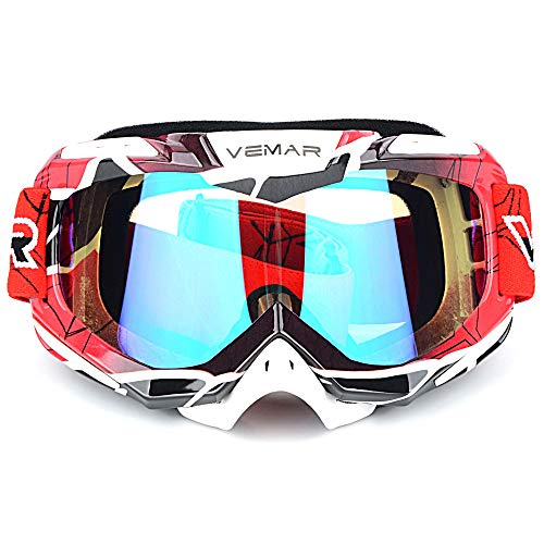 (Polarized Sport Motorcycle Motocross Goggles ATV Racing Goggles Dirt Bike Tactical Riding Motorbike Goggle Glasses, Bendable Windproof Dustproof Scratch Resistant Protective Safety Glasses (Red) )
