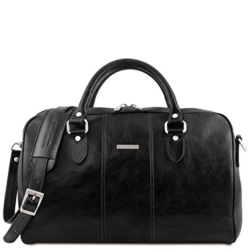 Tuscany Leather Lisbona Travel leather duffle bag - Small size Black by Tuscany Leather
