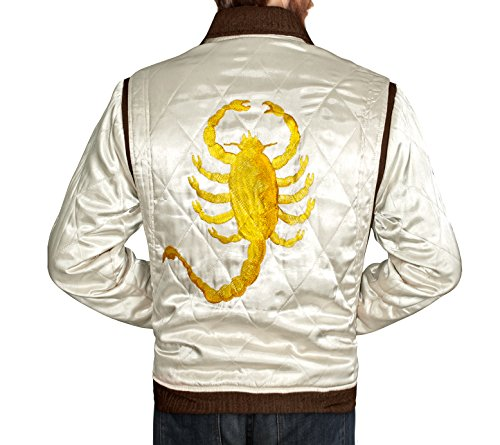 TAF Men's Drive Jacket with Golden Scorpion - Ryan Gosling Famous Scorpion Jacket (X-Large)
