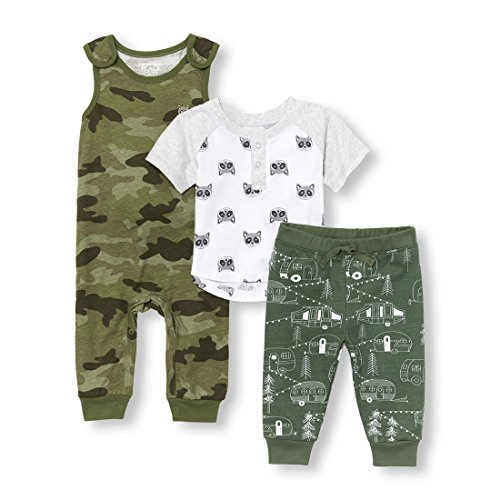 The Children's Place Baby Boys Raccoon Camper Raglan Top Romper and Pants 3-Piece Playwear Set, White, 18-24MONTH