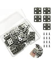 Juland 50 stuks mini-scharnieren retro messingscharnieren met 200 stuks reserveschroeven voor houten kist sieradendoos kabinet DIY accessoires (13 x 12 mm/0,51 x 0,47 inch) - nikkel