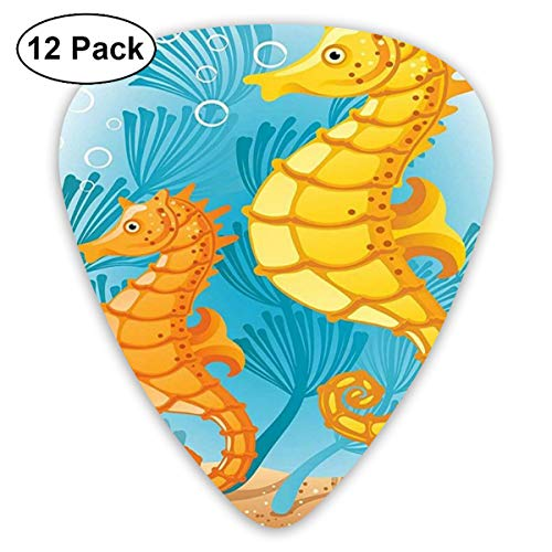 Yellow Seahorse Seaweed Bubble Small Medium Large 0.46 0.73 0.96mm Mini Flex Assortment Plastic Top Classic Rock Electric Acoustic Guitar Pick Accessories Variety Pack
