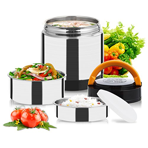 Vacuum Lunch Container Stainless Steel, Food Thermos Lunch Box Container Jar, Double Insulated Food Carrier, Stackable Bento Box for Work Travel Hiking Camping Picnics (2019 Stainless Steel 1.4L)