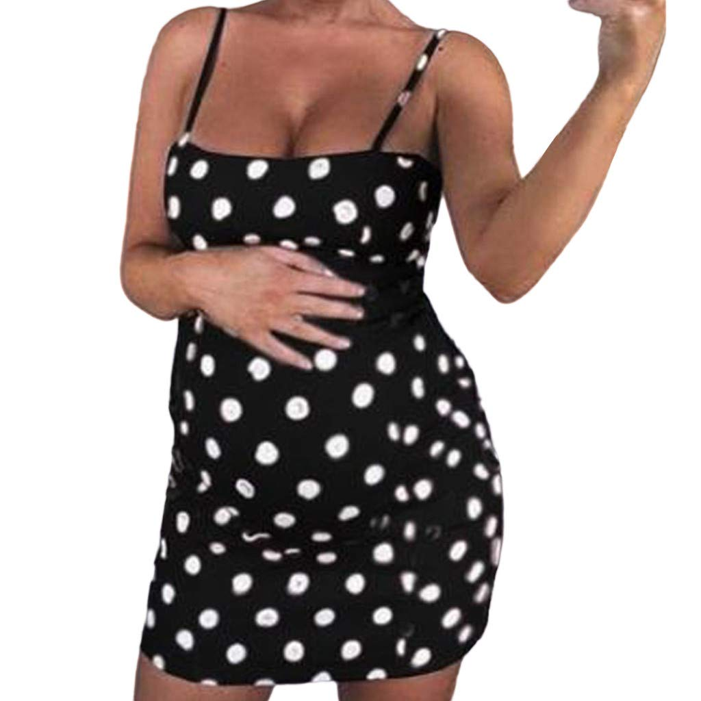 vermers Womens Maternity Cami Dresses Sexy Polka Dot Printed Camisole Tops Pregnant Sleeveless Boho Mini Dress(M,Black)