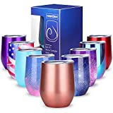 NEWBEA 12 oz Wine Tumbler with Lid, Double Wall Vacuum Insulated Stemless Glass, Stainless Steel Wine Cup Perfect for Wine, Coffee, Drinks, Champagne, Cocktails-Perfect Gifts for Fathers Day