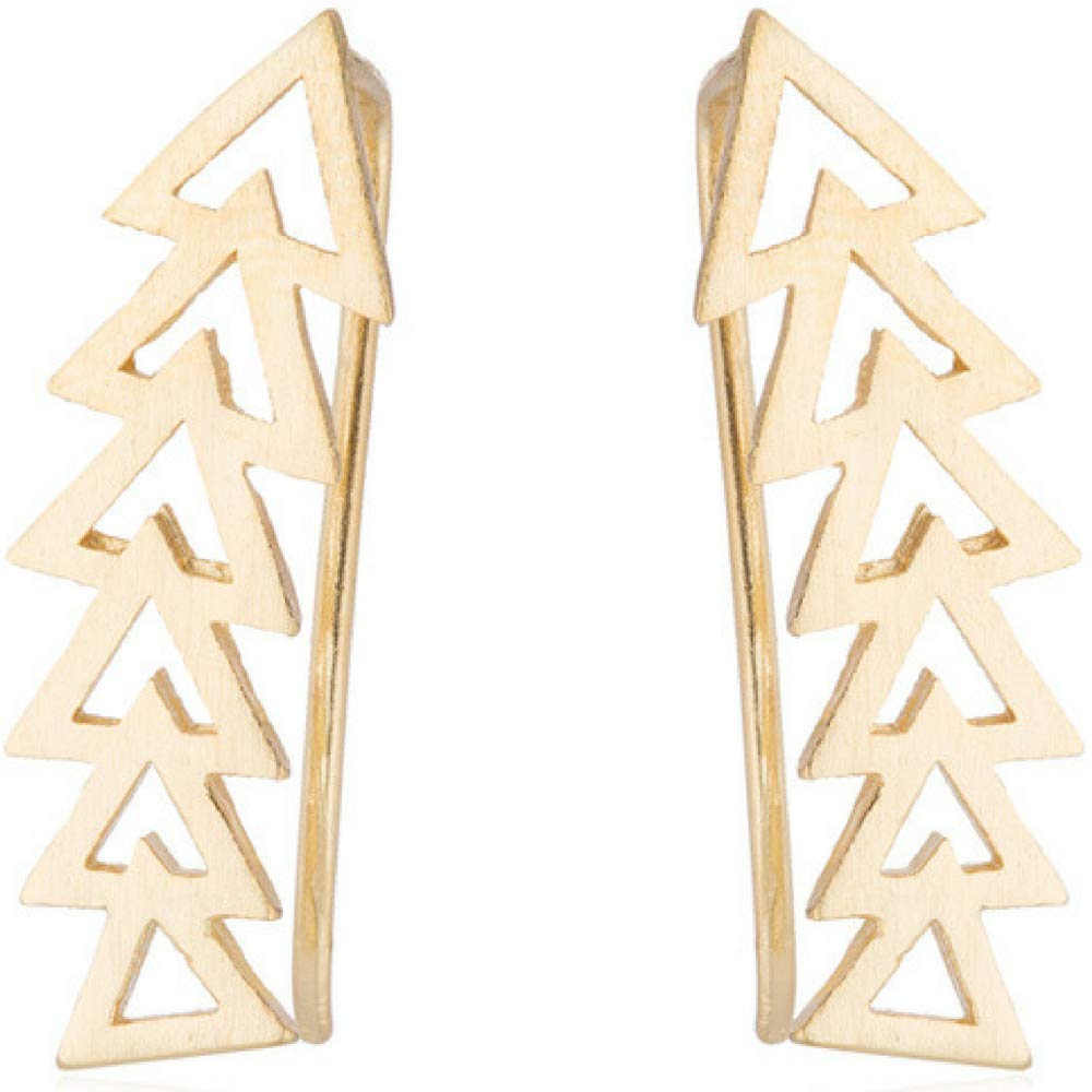 Arrow Geometric Shape Ear Climber Triangle Crawler Earrings (Gold)