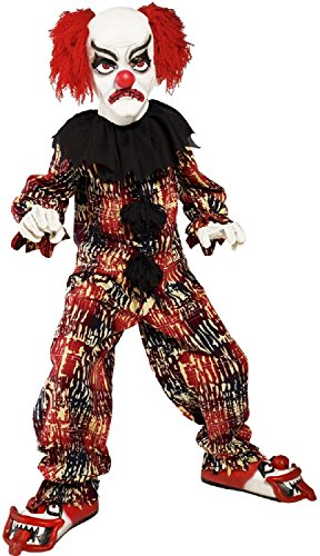 (Boys Girls Creepy Scary Evil Clown Halloween Carnival Deluxe 5Pc Includes Mask Shoes Gloves Fancy Dress Costume Outfit 7-12 Years (10-12)
