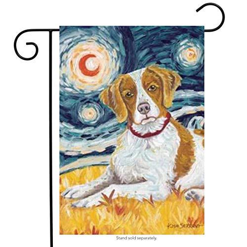 Toland Home Garden Van Growl Brittany 12.5 x 18 Inch Decorative Puppy Dog Portrait Starry Night Garden Flag
