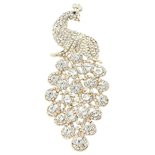 EVER FAITH Austrian Crystal Elegant Peacock Bird Animal Brooch Pendant Clear Gold-Tone ()