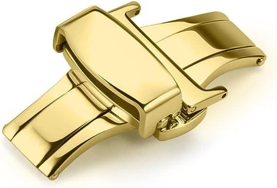 Imagen deiStrap 10mm 12mm 14mm 16mm 18mm 20mm 22mm Correa Hebilla Desplegable de Reloj Pulido en Acero Inoxidable con Cierre de Mariposa y Boton Pulsador