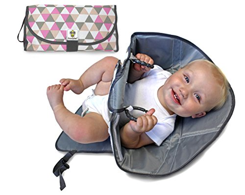 SnoofyBee Portable Clean Hands Changing Pad. 3-in-1 Diaper Clutch, Changing Station, and Diaper-Time Playmat with Redirection Barrier for Use with Infants, Babies and Toddlers. (Rose)