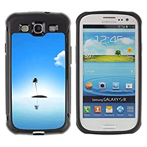 SHIMIN CAO@ Palm Tree Lonely Island Ocean Sea Light Blue Rugged Hybrid Armor Slim Protection Case Cover Shell For S3 Case ,I9300 Case Cover ,I9308 case ,Leather for S3 ,S3 Leather Cover Case