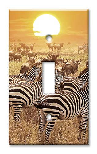 (Art Plates 1 Gang Toggle Wall Plate - Zebras on the Range)
