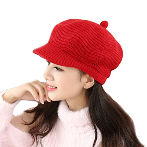 - Elaco Autumn&Winter Beanies Knit Hats For Women Fur Warm Beaded Pearl Ladies Beret Bonnets (Red)
