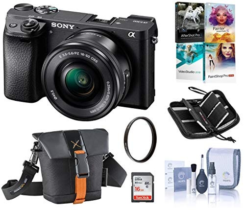 Sony Alpha a6300 Mirrorless Digital Camera with 16-50mm F3.5-5.6 OSS Power Zoom Lens (Black), Bundle with Camera Bag + 16GB SD Card + SD Card Case + Corel PC Software Kit + Cleaning Kit + UV Filter