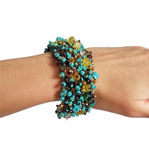 Handmade Gemstone, Crystal, Glass, Seed and Plastic Beaded Fashion Bracelet (Turquoise-Amber)