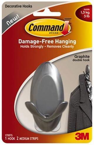 Command 17087G Medium Graphite Double Hook